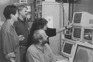 Ribosomen-Messzeit 1993 - 'we have beam!'. Foto: DESY