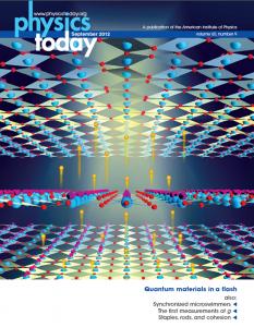 Jeweils 'übernächste' Kupfer(hellblau)-Sauerstoff(rot)-Ebenen, 'Streifen' besitzen keinen Spin (Pfeil). Normaler Elektronenfluss: Orange Bälle, Supraleitung: Zentraler Lichteffekt.