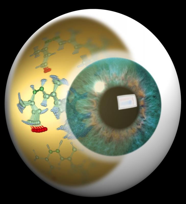 Künstlerische Darstellung der molekularen Bewegung des Chromophors Retinal, welche das Sehen ermöglicht.